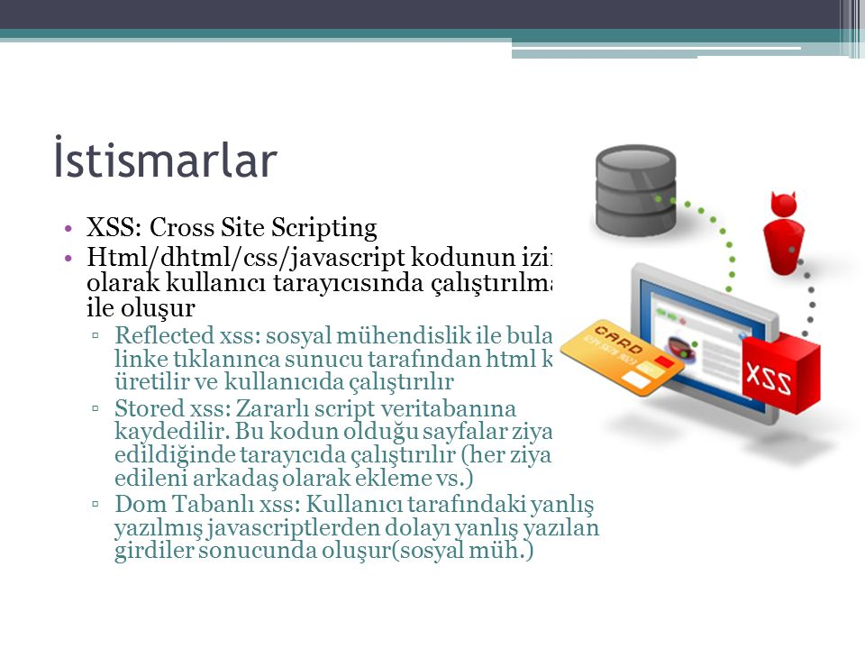 İstismarlar XSS: Cross Site Scripting