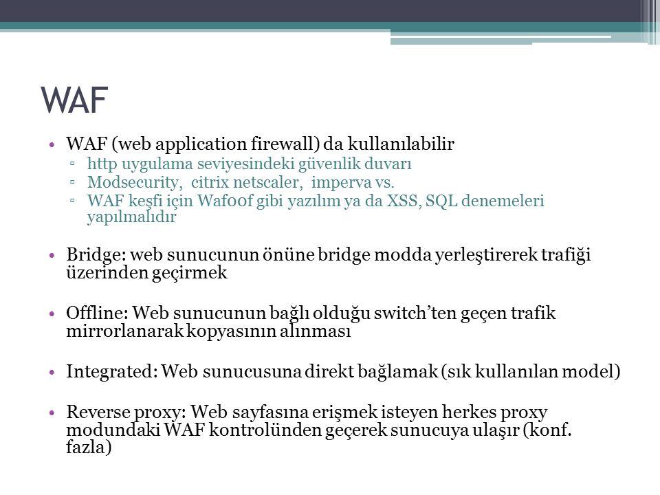 WAF WAF (web application firewall) da kullanılabilir
