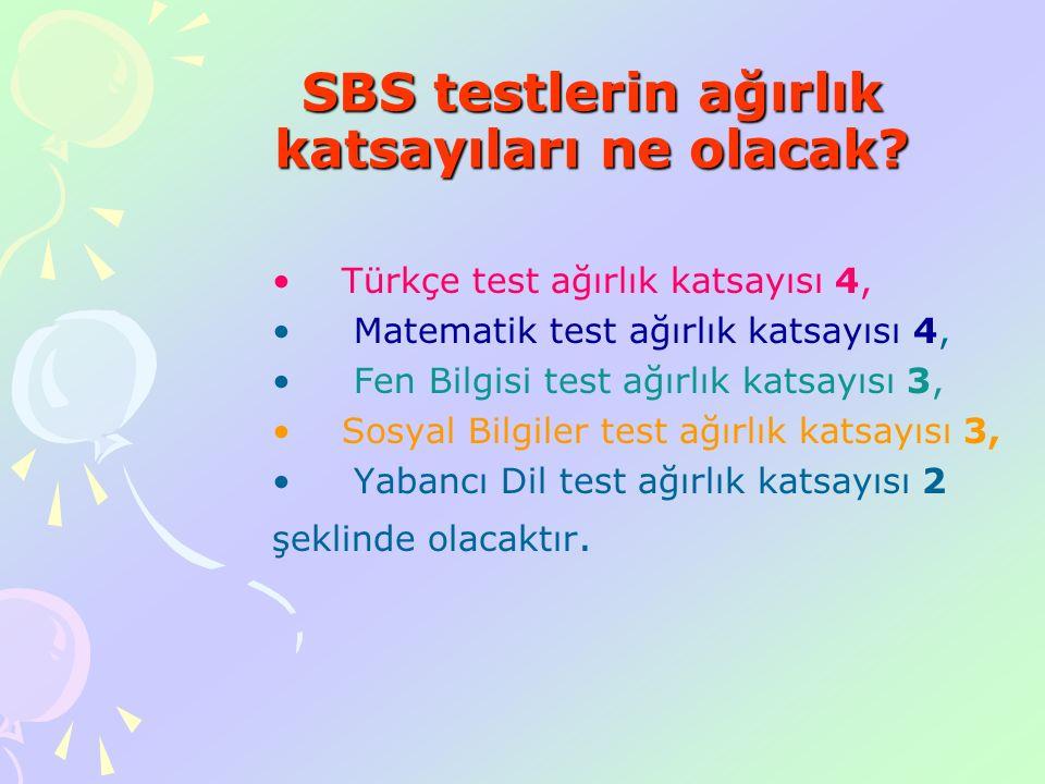 SBS testlerin ağırlık katsayıları ne olacak