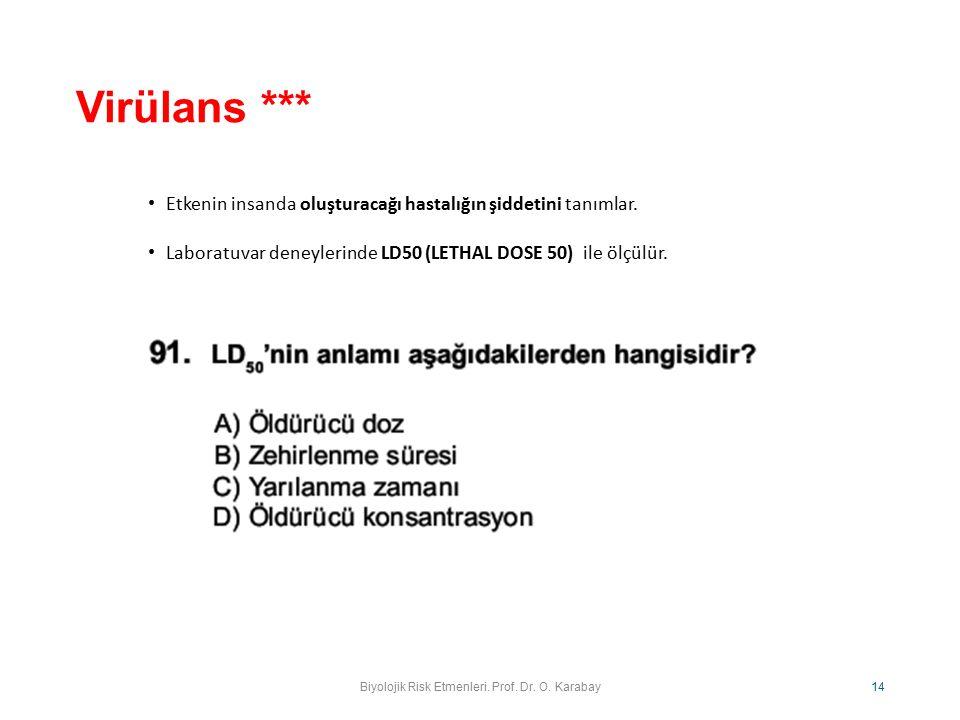 Biyolojik Risk Etmenleri. Prof. Dr. O. Karabay