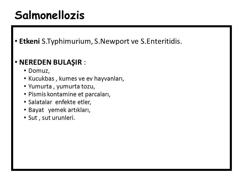 Salmonellozis Etkeni S.Typhimurium, S.Newport ve S.Enteritidis.