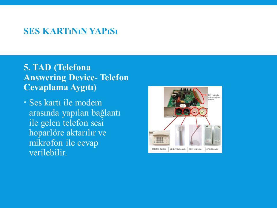 Ses kartının yapısı 5. TAD (Telefona Answering Device- Telefon Cevaplama Aygıtı)
