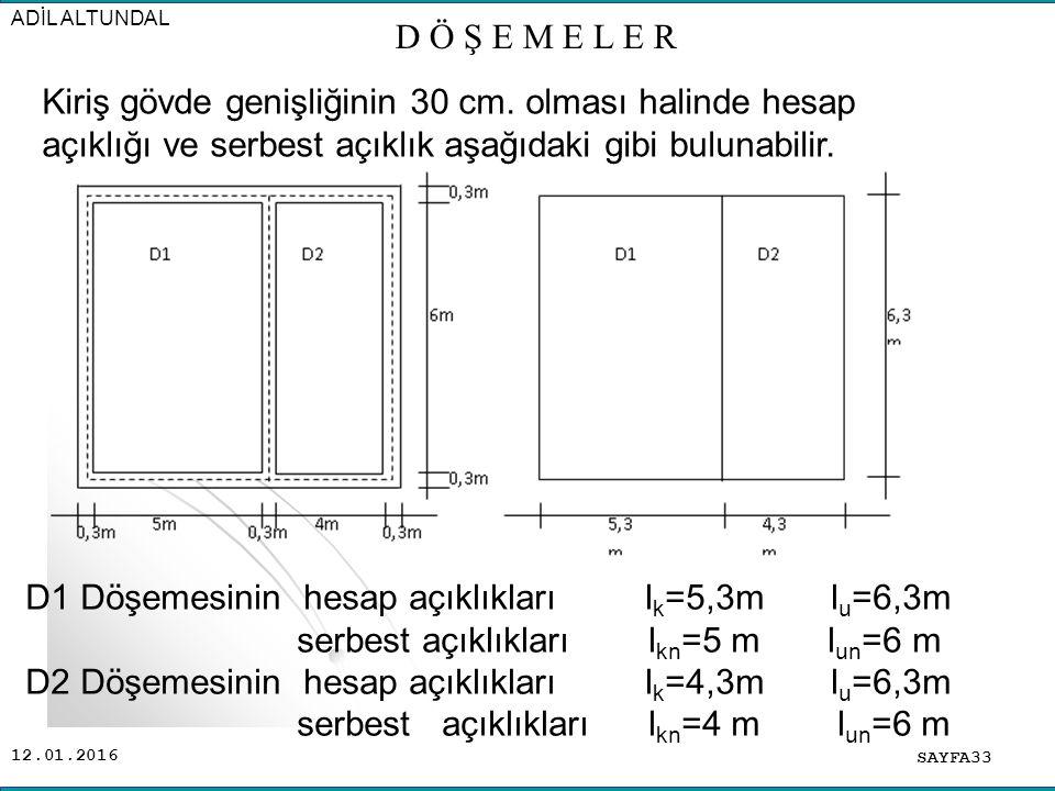 D1 Döşemesinin hesap açıklıkları lk=5,3m lu=6,3m