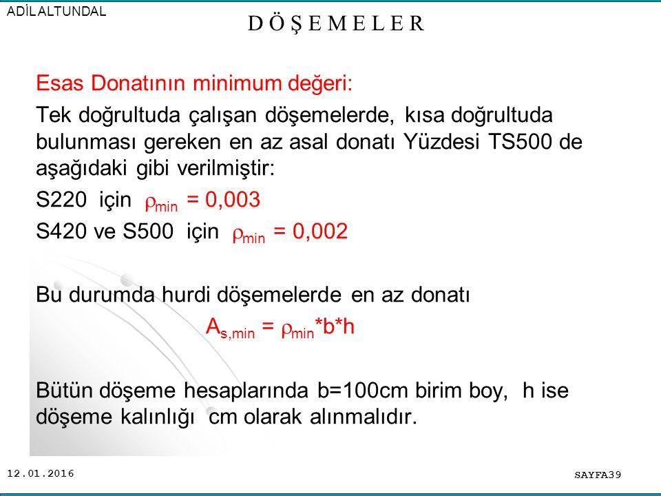 Esas Donatının minimum değeri: