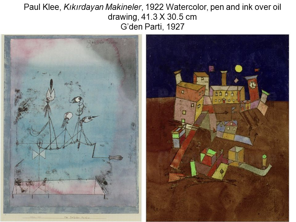 Paul Klee, Kıkırdayan Makineler, 1922 Watercolor, pen and ink over oil drawing, 41.3 X 30.5 cm G'den Parti, 1927