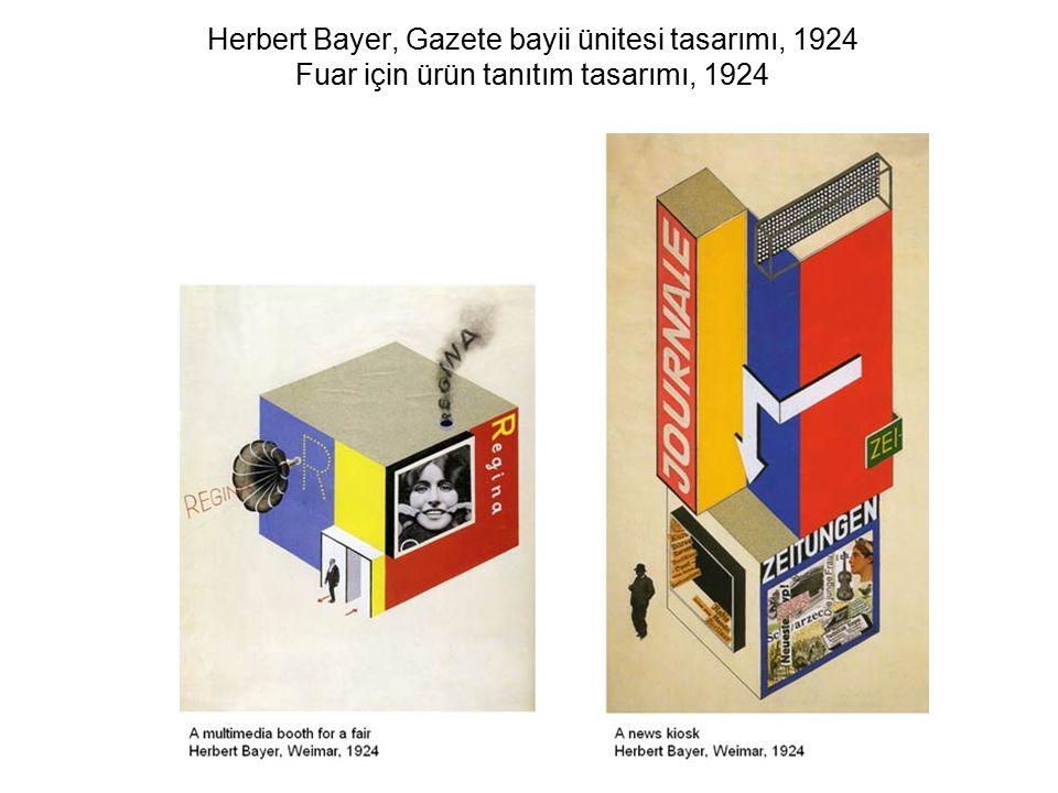 Herbert Bayer, Gazete bayii ünitesi tasarımı, 1924 Fuar için ürün tanıtım tasarımı, 1924