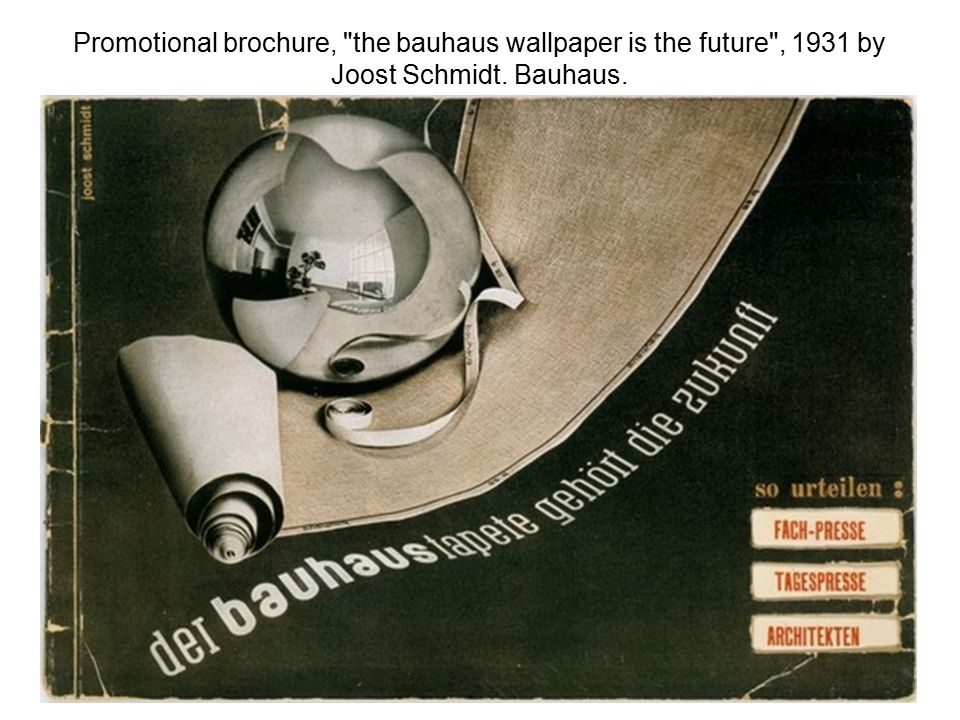 Promotional brochure, the bauhaus wallpaper is the future , 1931 by Joost Schmidt. Bauhaus.