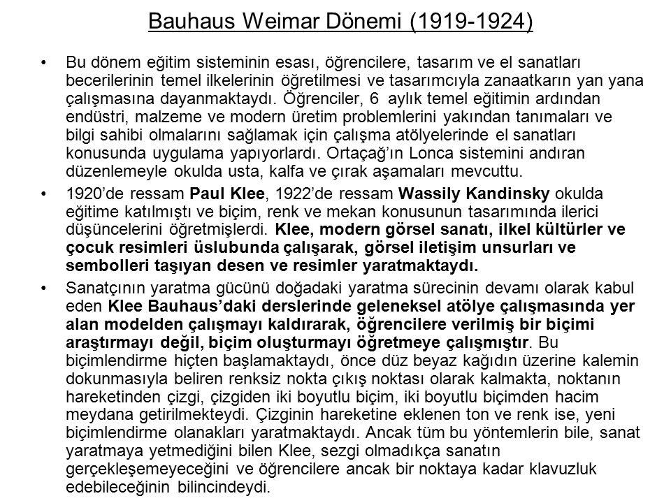 Bauhaus Weimar Dönemi (1919-1924)