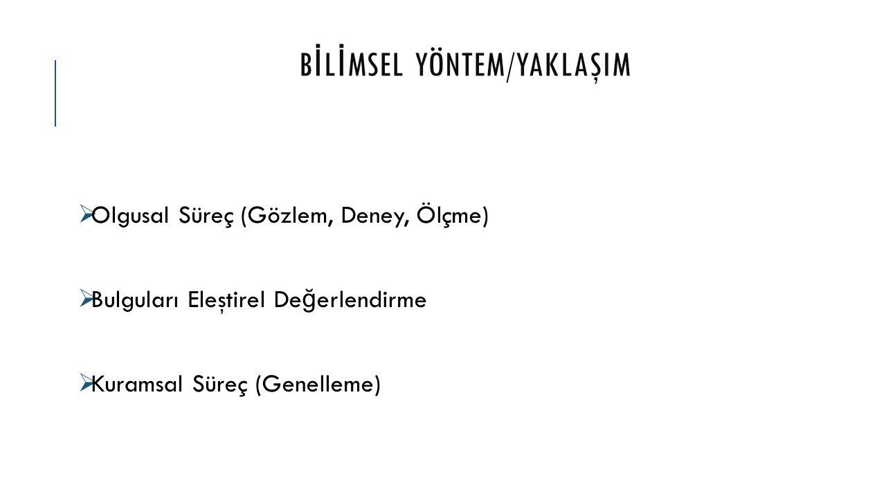BİLİMSEL YÖNTEM/YAKLAŞIM