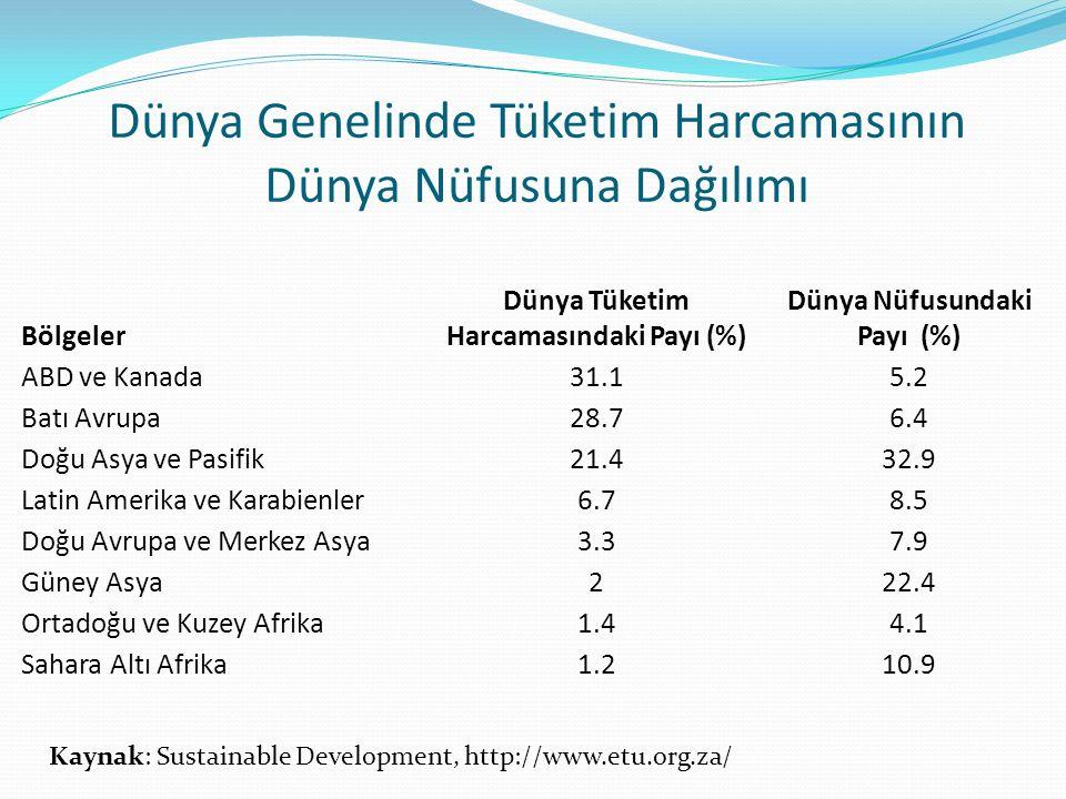 Dünya Genelinde Tüketim Harcamasının Dünya Nüfusuna Dağılımı