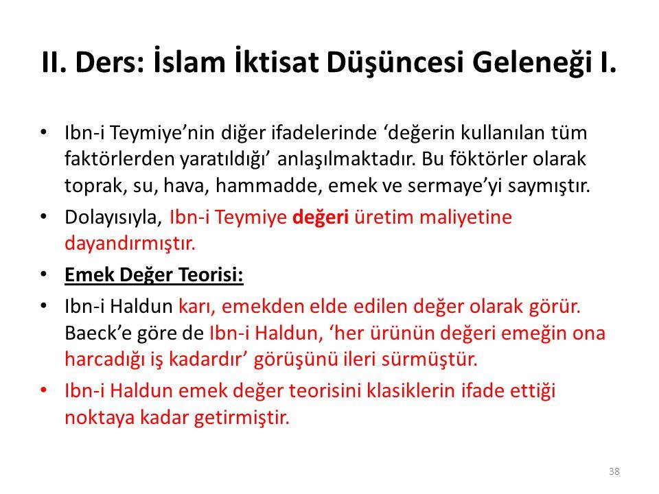 II. Ders: İslam İktisat Düşüncesi Geleneği I.