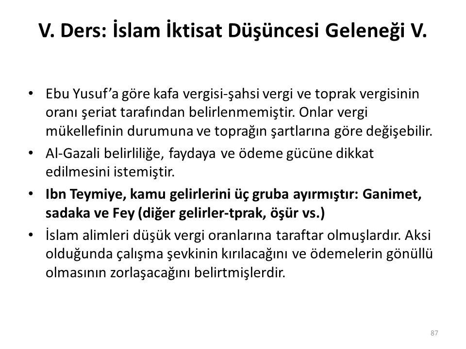 V. Ders: İslam İktisat Düşüncesi Geleneği V.