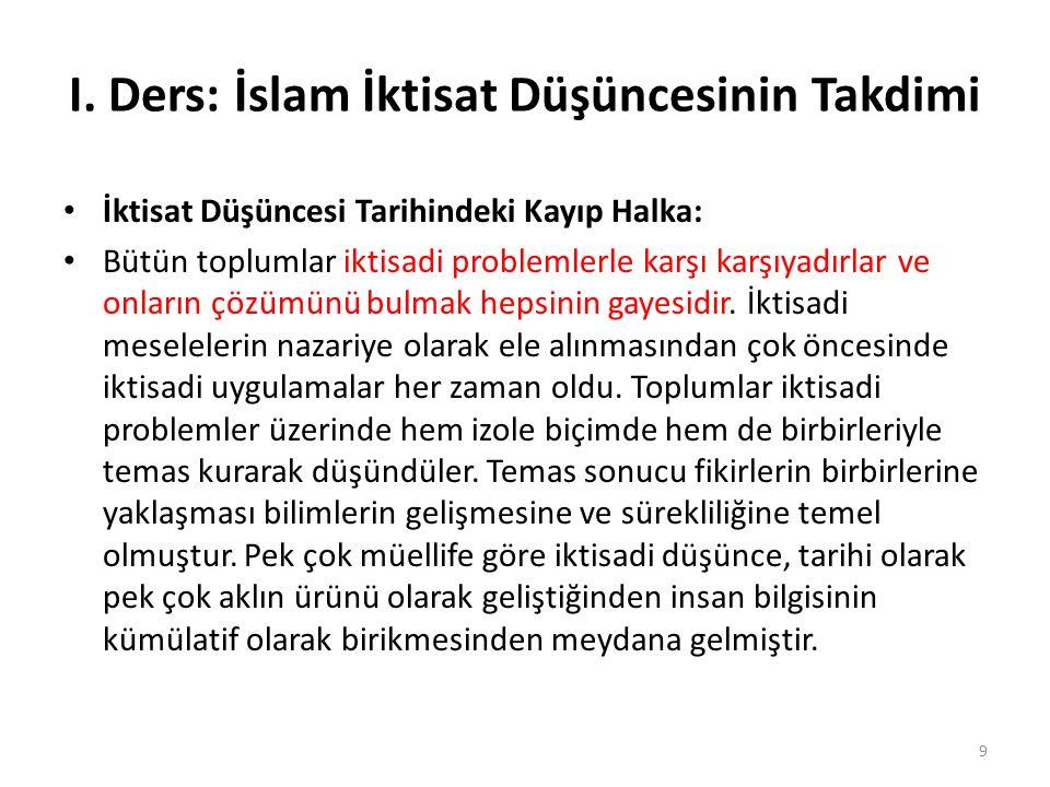 I. Ders: İslam İktisat Düşüncesinin Takdimi