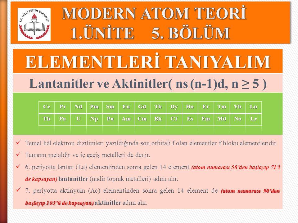 MODERN ATOM TEORİ 1.ÜNİTE 5. BÖLÜM