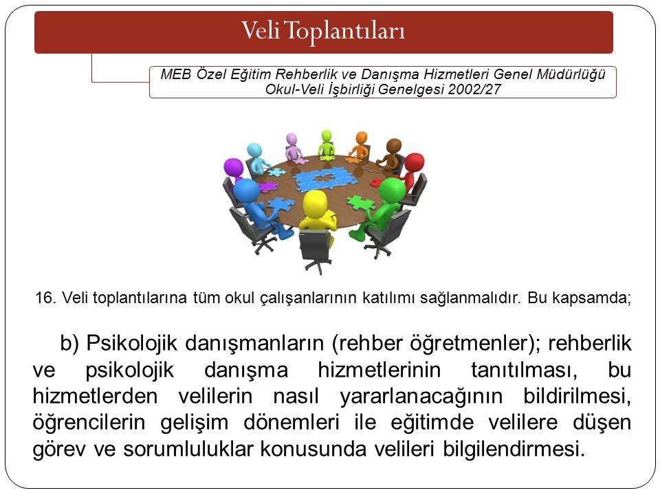 Veli Toplantıları MEB Özel Eğitim Rehberlik ve Danışma Hizmetleri Genel Müdürlüğü Okul-Veli İşbirliği Genelgesi 2002/27.