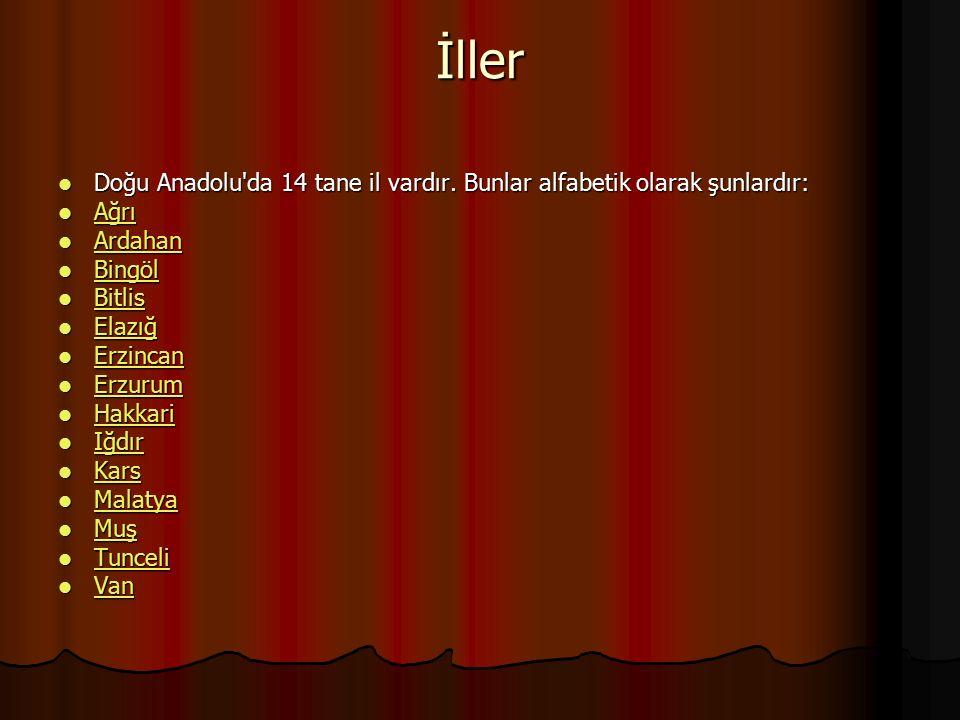 İller Doğu Anadolu da 14 tane il vardır. Bunlar alfabetik olarak şunlardır: Ağrı. Ardahan. Bingöl.