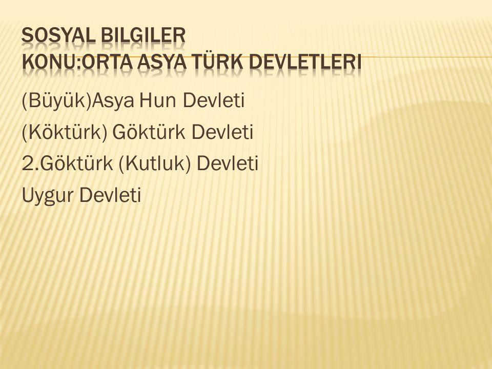 Sosyal bilgiler konu:orta asya türk devletleri