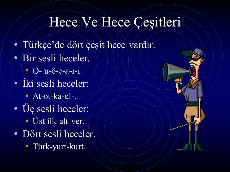 Hece Ve Hece Çeşitleri Türkçe'de dört çeşit hece vardır.