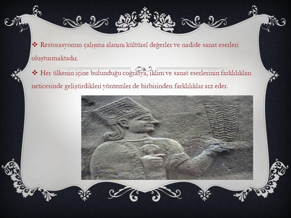 Restorasyonun çalışma alanını kültürel değerler ve nadide sanat eserleri oluşturmaktadır.