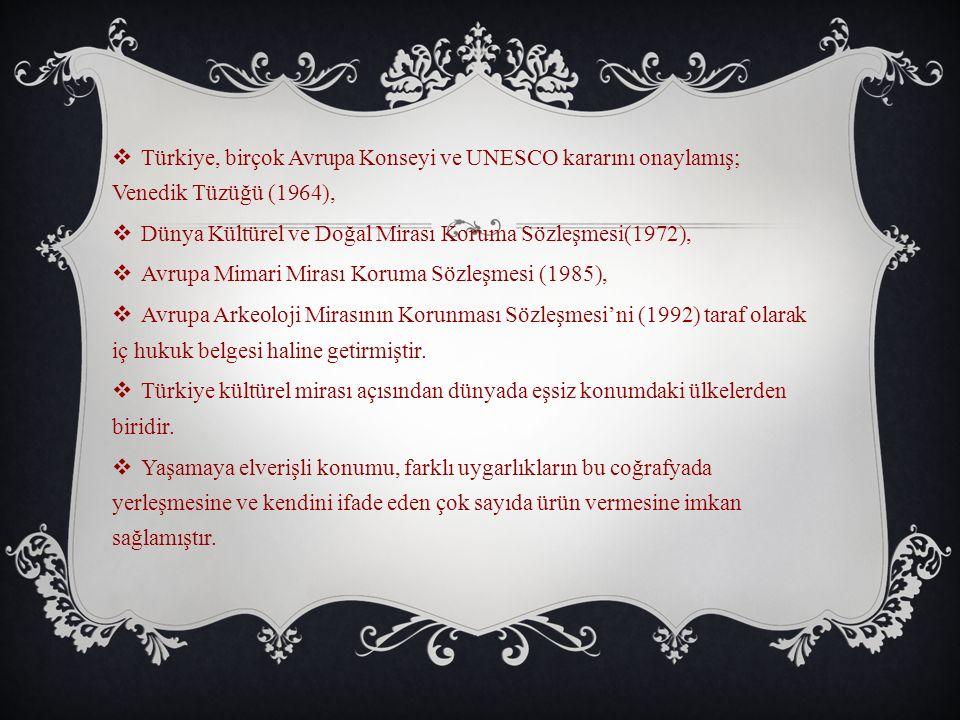Türkiye, birçok Avrupa Konseyi ve UNESCO kararını onaylamış; Venedik Tüzüğü (1964),