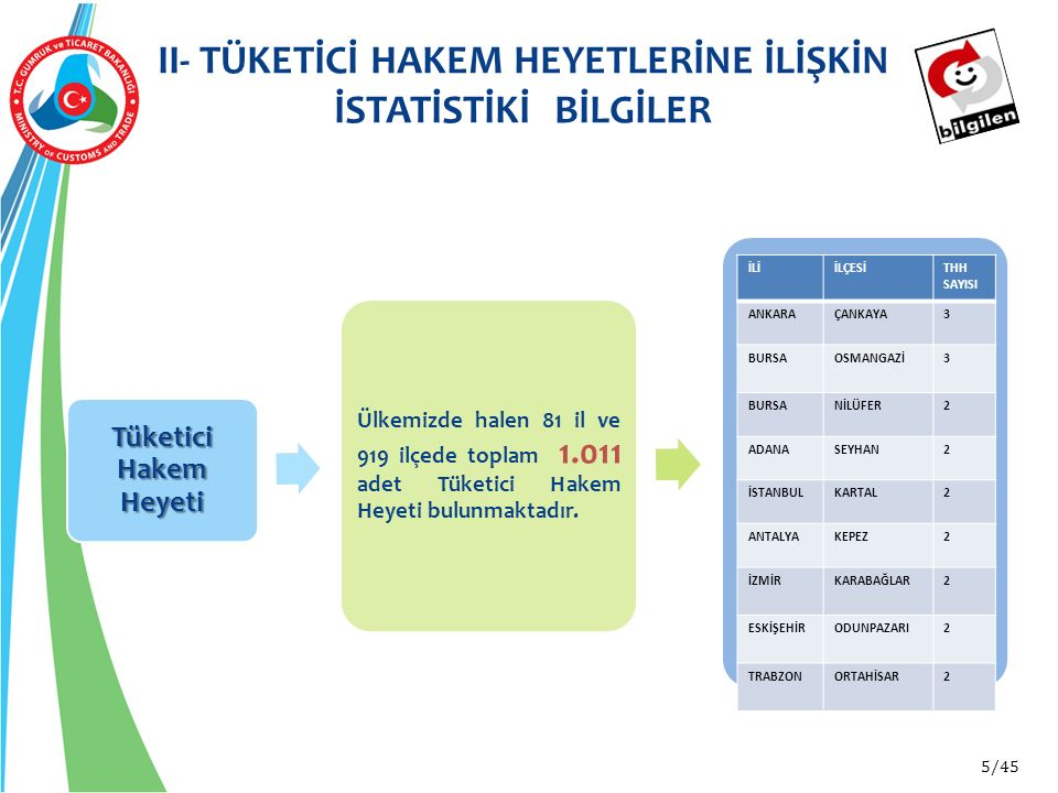 II- TÜKETİCİ HAKEM HEYETLERİNE İLİŞKİN İSTATİSTİKİ BİLGİLER