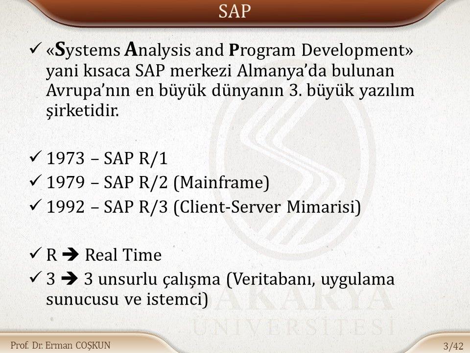 SAP «Systems Analysis and Program Development» yani kısaca SAP merkezi Almanya'da bulunan Avrupa'nın en büyük dünyanın 3. büyük yazılım şirketidir.