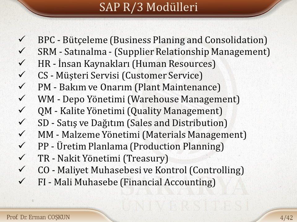 SAP R/3 Modülleri BPC - Bütçeleme (Business Planing and Consolidation)