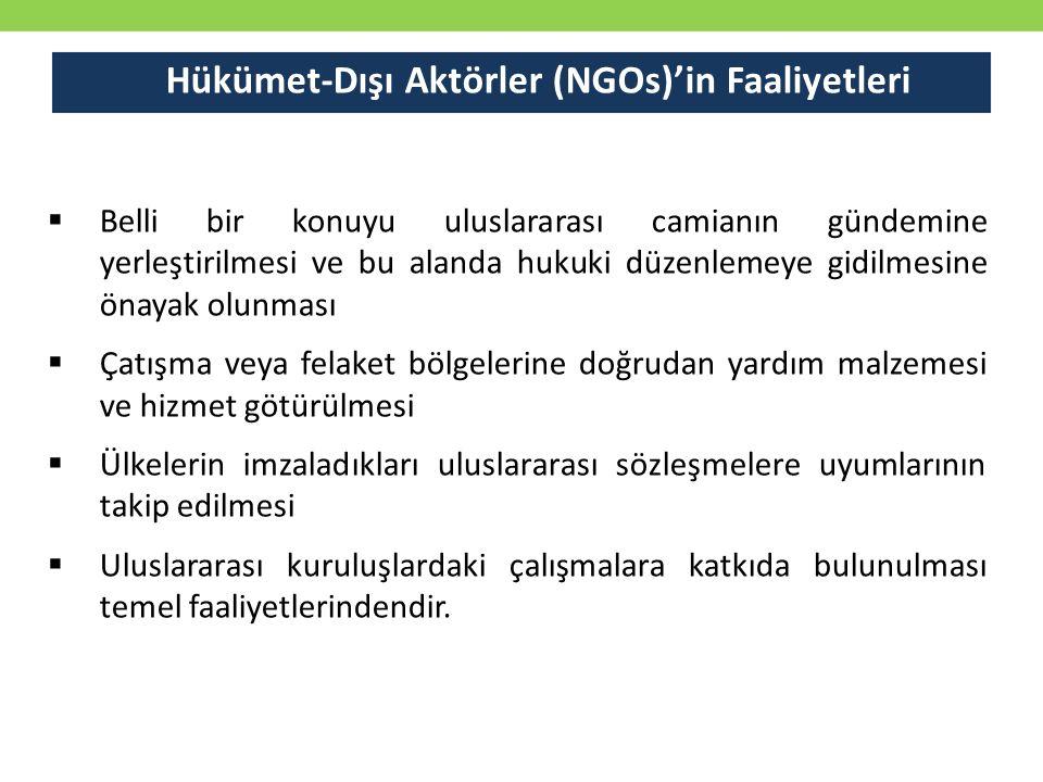 Hükümet-Dışı Aktörler (NGOs)'in Faaliyetleri
