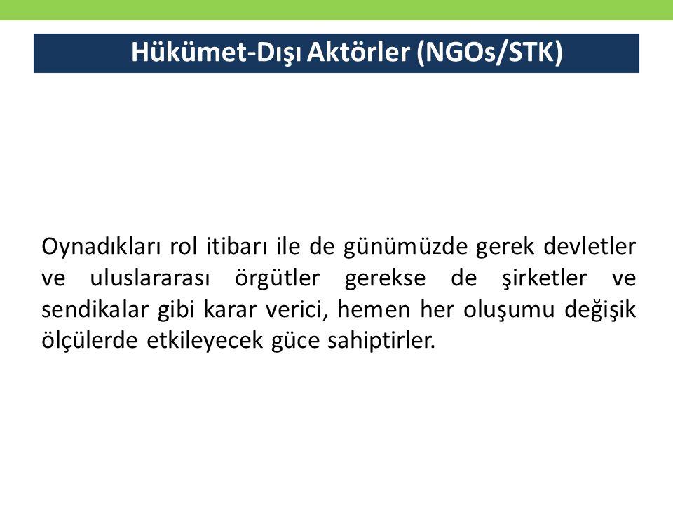 Hükümet-Dışı Aktörler (NGOs/STK)