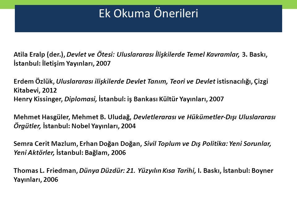 Ek Okuma Önerileri Atila Eralp (der.), Devlet ve Ötesi: Uluslararası İlişkilerde Temel Kavramlar, 3. Baskı, İstanbul: İletişim Yayınları, 2007.