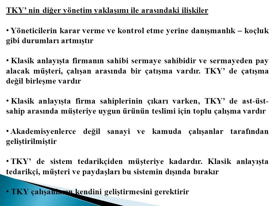 TKY' nin diğer yönetim yaklaşımı ile arasındaki ilişkiler
