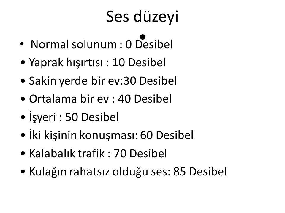 Ses düzeyi • Normal solunum : 0 Desibel