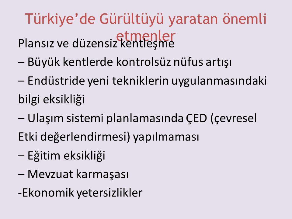 Türkiye'de Gürültüyü yaratan önemli etmenler
