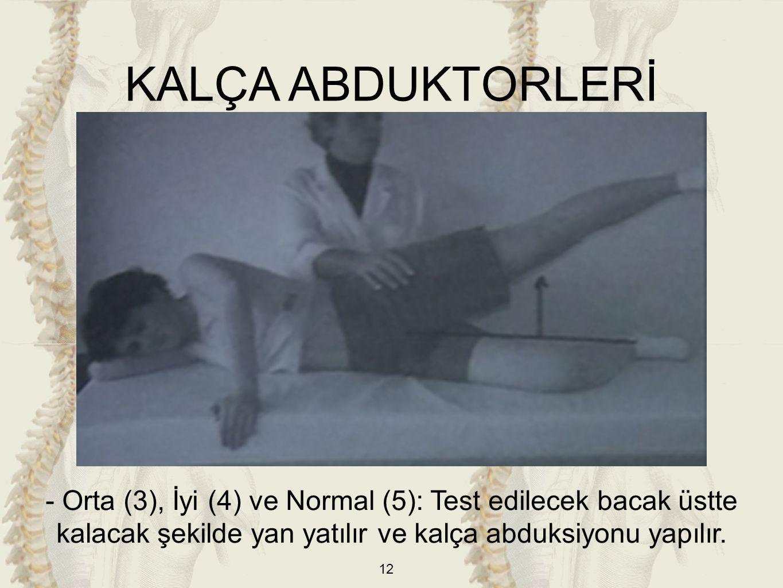 KALÇA ABDUKTORLERİ - Orta (3), İyi (4) ve Normal (5): Test edilecek bacak üstte kalacak şekilde yan yatılır ve kalça abduksiyonu yapılır.