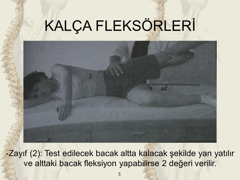 KALÇA FLEKSÖRLERİ -Zayıf (2): Test edilecek bacak altta kalacak şekilde yan yatılır ve alttaki bacak fleksiyon yapabilirse 2 değeri verilir.