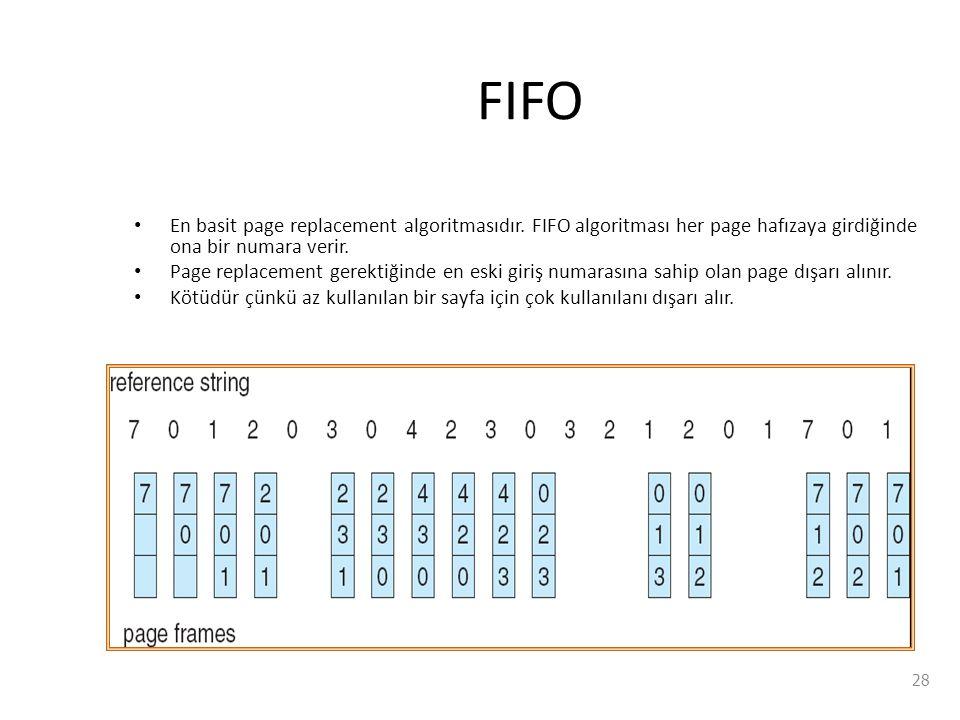 FIFO En basit page replacement algoritmasıdır. FIFO algoritması her page hafızaya girdiğinde ona bir numara verir.