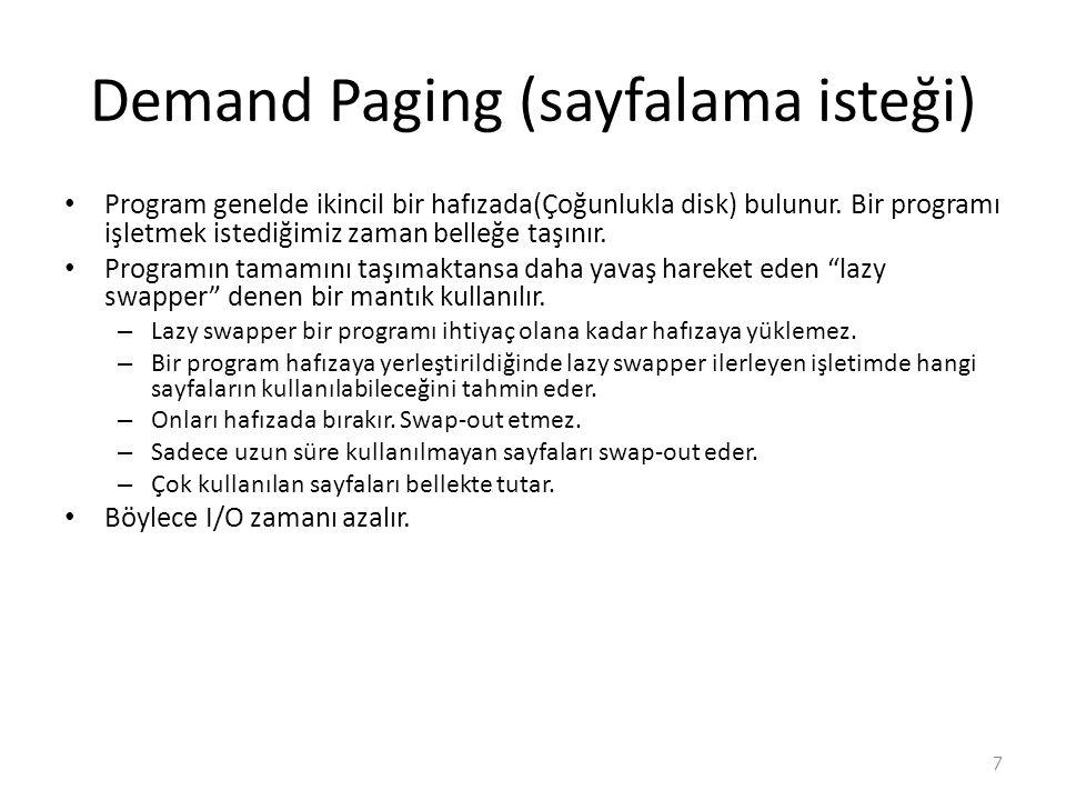 Demand Paging (sayfalama isteği)