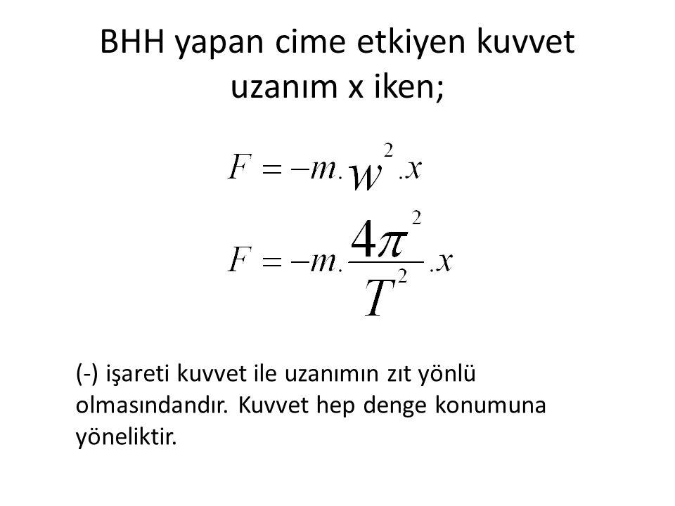 BHH yapan cime etkiyen kuvvet uzanım x iken;