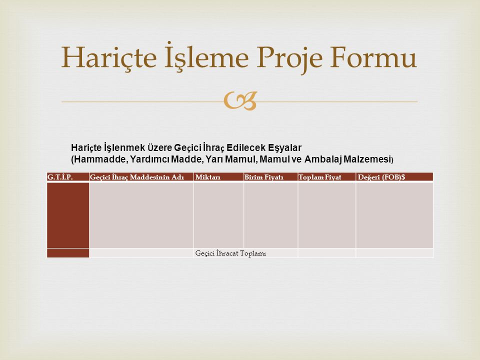 Hariçte İşleme Proje Formu