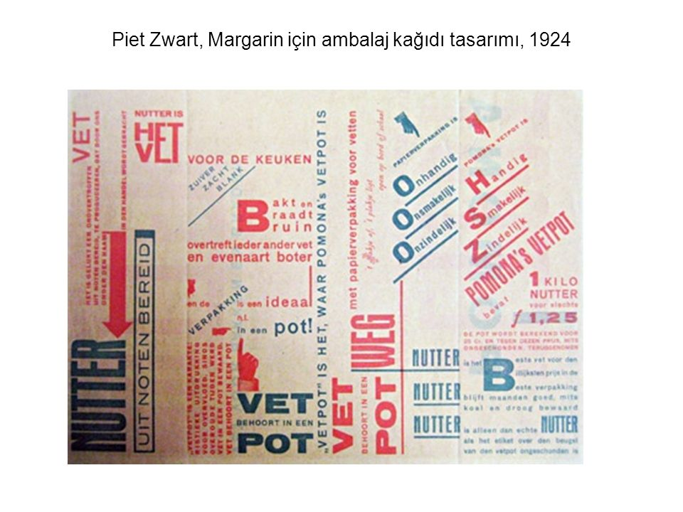 Piet Zwart, Margarin için ambalaj kağıdı tasarımı, 1924