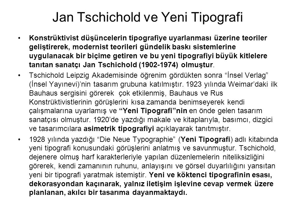 Jan Tschichold ve Yeni Tipografi