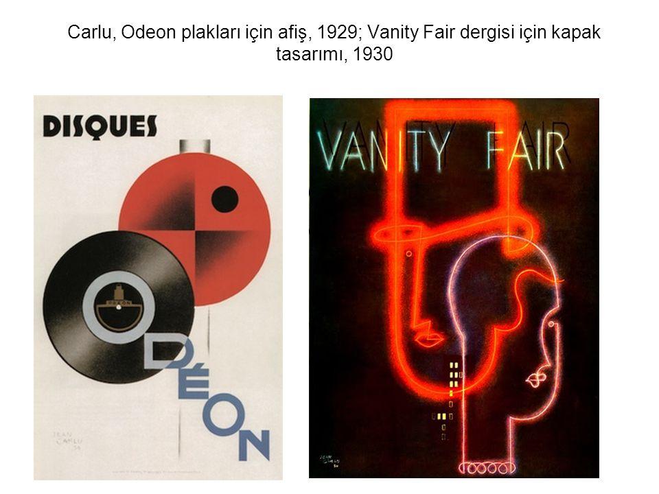 Carlu, Odeon plakları için afiş, 1929; Vanity Fair dergisi için kapak tasarımı, 1930