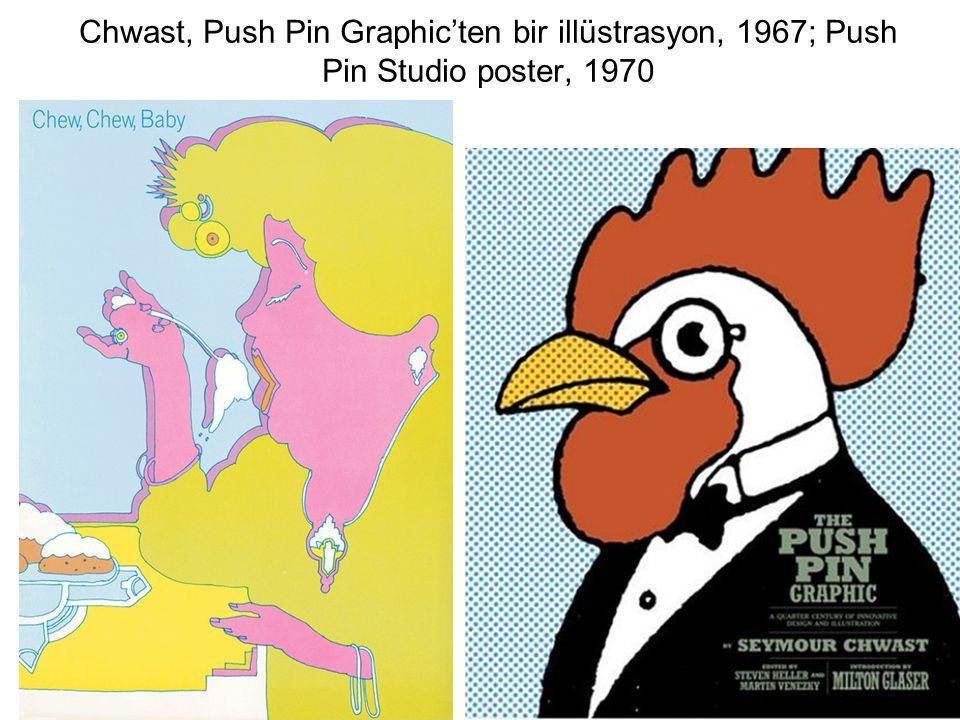 Chwast, Push Pin Graphic'ten bir illüstrasyon, 1967; Push Pin Studio poster, 1970