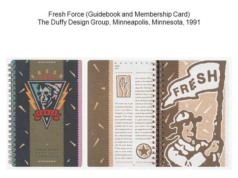Fresh Force (Guidebook and Membership Card) The Duffy Design Group, Minneapolis, Minnesota, 1991