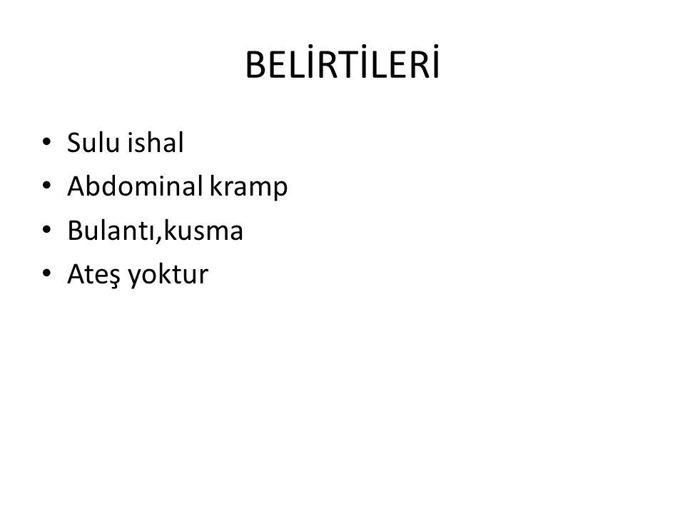 BELİRTİLERİ Sulu ishal Abdominal kramp Bulantı,kusma Ateş yoktur