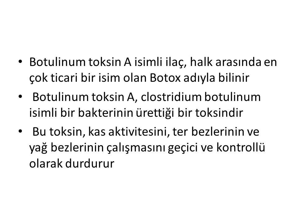 Botulinum toksin A isimli ilaç, halk arasında en çok ticari bir isim olan Botox adıyla bilinir