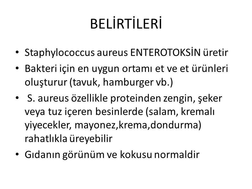 BELİRTİLERİ Staphylococcus aureus ENTEROTOKSİN üretir