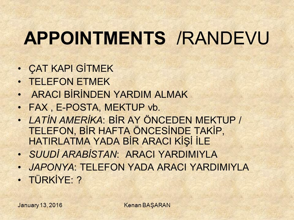 APPOINTMENTS /RANDEVU
