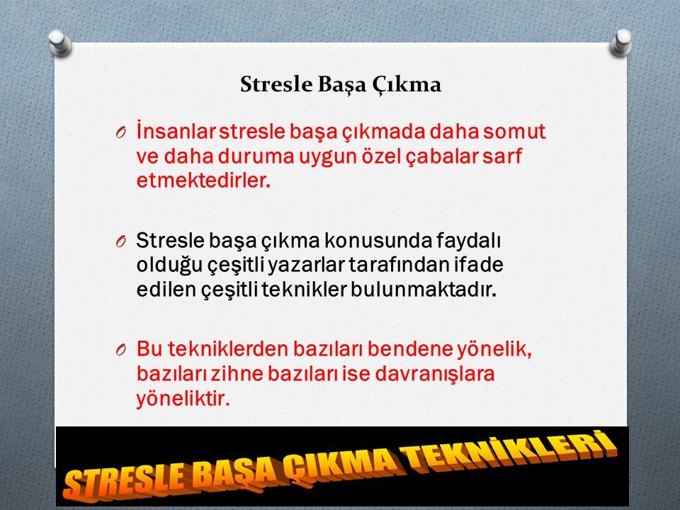 Stresle Başa Çıkma İnsanlar stresle başa çıkmada daha somut ve daha duruma uygun özel çabalar sarf etmektedirler.