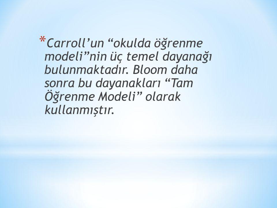 Carroll'un okulda öğrenme modeli nin üç temel dayanağı bulunmaktadır